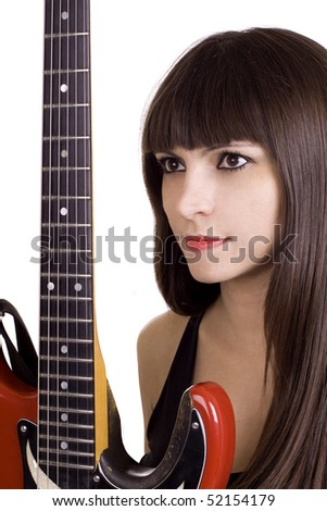 Latino woman with brown hair holding red guitar