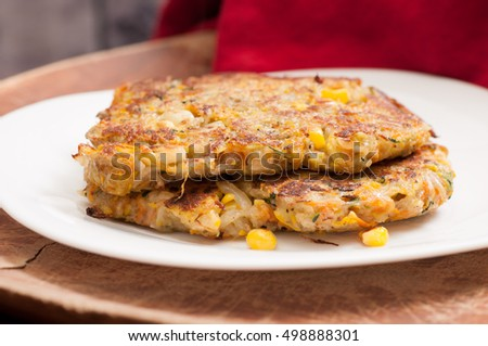 latkes made with zucchini, potato carrot and onion, pancakes