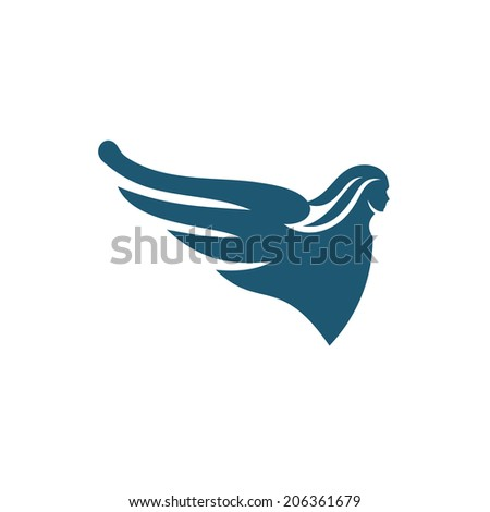Latrine figure on the bow of ship Branding Identity Corporate logo design template Isolated on a white background - stock photo