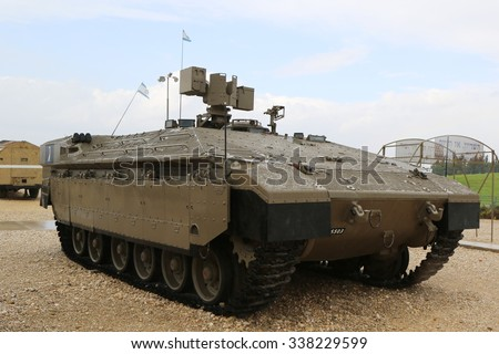 LATRUN, ISRAEL - NOVEMBER 27, 2014: Israeli made Namer Heavy Armored Personnel Carrier on display at Yad La-Shiryon Armored Corps Museum at Latrun - stock photo