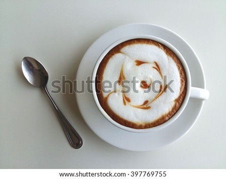 Latte art coffee isolated on white  background - stock photo