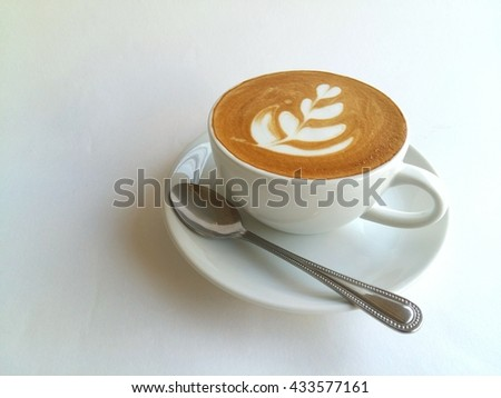 Latte art coffee so delicious on white background