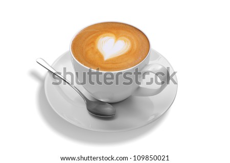 latte art on white background - stock photo