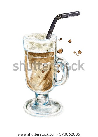 Latte. Coffee. Coffee grains. Hand drawn watercolor illustration. Latte with watercolor splashes, stains. Watercolor painting on white background. - stock photo