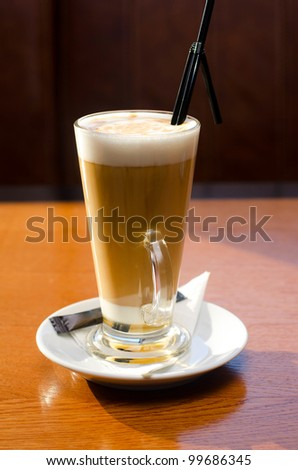 Latte coffee cup - stock photo