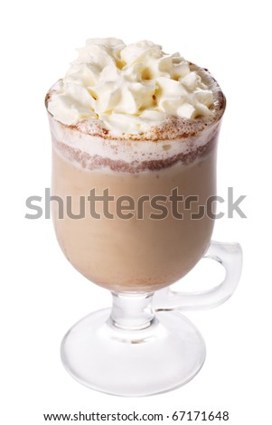Latte coffee isolated on white background - stock photo