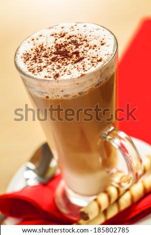 Latte coffee, top view - stock photo