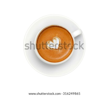 Latte coffee with heart symbol isolated on white background - stock photo