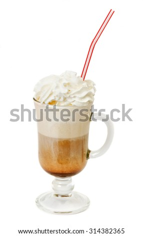 latte coffee with whipped cream in glass isolated on white background - stock photo