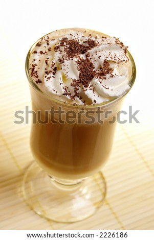latte coffee with white chocolate and irish cream