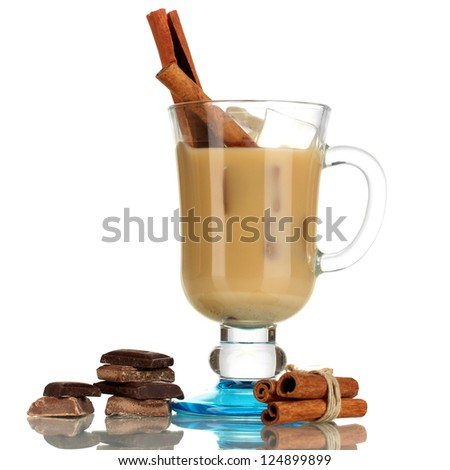 Latte in glass isolated on white - stock photo