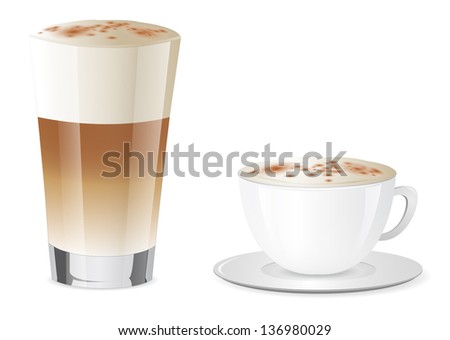 Latte Macchiato and Cappuccino - stock photo