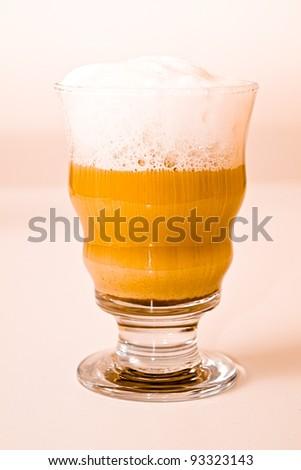Latte Macchiato coffee in a glass - stock photo