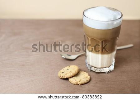 latte macchiato with cookies - stock photo