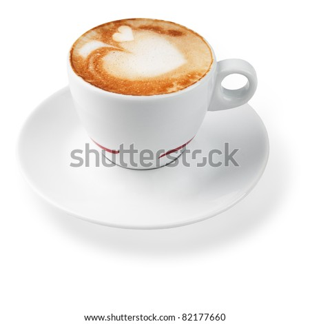 latte with a pattern in the shape of hearts. isolated on white - stock photo