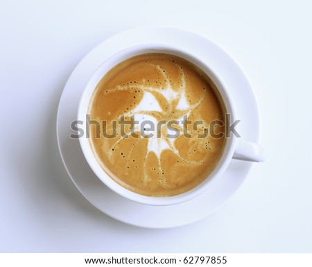 Latte with froth art - stock photo