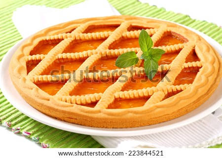 Lattice apricot tart - stock photo