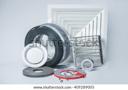 lattice, blinds, air ducts, an adhesive tape for ventilation systems on a white background - stock photo