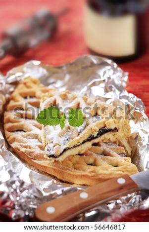 Lattice jam tart - stock photo
