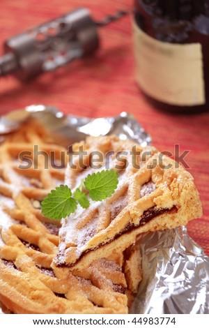 Lattice topped jelly tart - stock photo