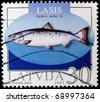 LATVIA-CIRCA 2003: A post stamp printed in Latvia shows salmon fish ( salmo salar ), circa 2003 - stock photo