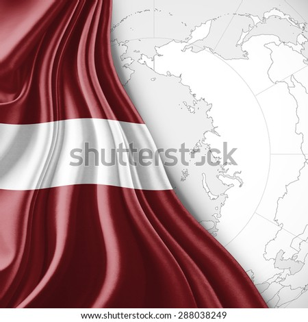 Latvia  flag of silk with world map and white background - stock photo