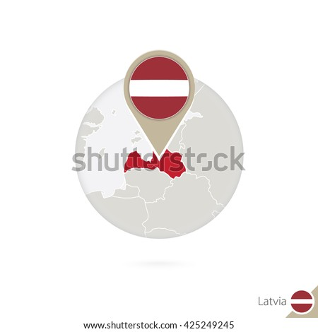 Latvia map and flag in circle. Map of Latvia, Latvia flag pin. Map of Latvia in the style of the globe. Raster copy. - stock photo