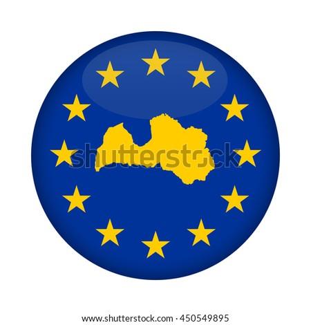 Latvia map on a European Union flag button isolated on a white background. - stock photo