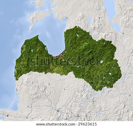 Latvia. Shaded relief map. Surrounding territory greyed out. Colored according to vegetation. Includes clip path for the state area.