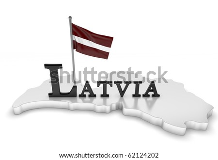 Latvia Tribute/Digitally rendered scene with flag and typography - stock photo