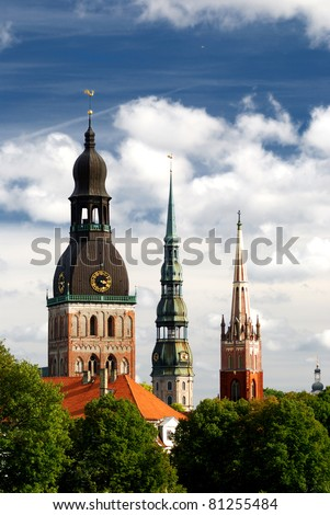 Latvian church towers in Riga - stock photo