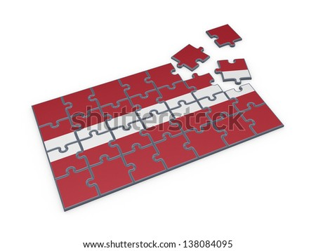 Latvian flag made of puzzles.Isolated on white background.3d rendered. - stock photo