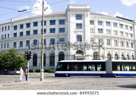 Latvian University building and tram
