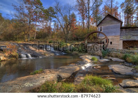 Laudermilk Gristmill in Northeast Georgia, USA. - stock photo