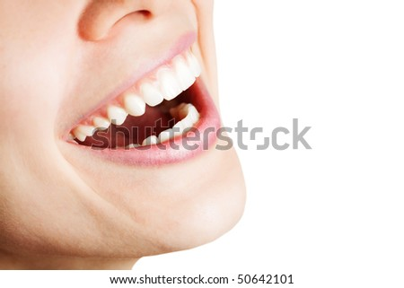 Laugh of happy woman with healthy white teeth - stock photo