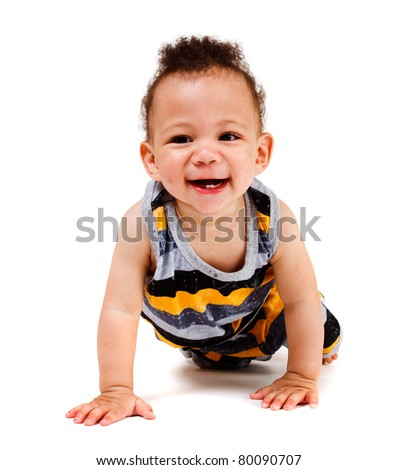 Laughing african american funny baby, crawling