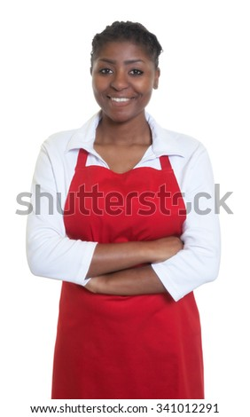 Laughing african american waitress - stock photo