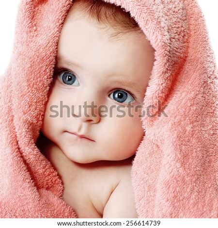 laughing baby after bath - stock photo