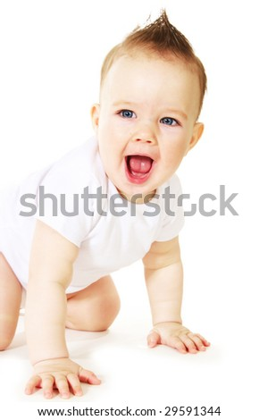 Laughing baby boy on white