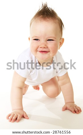 Laughing baby boy on white background