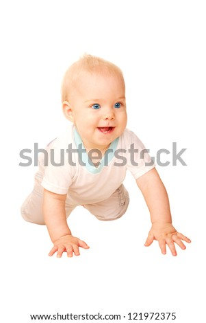 Laughing baby crawling away. Isolated on white background.