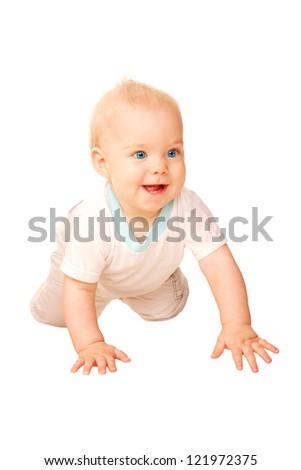 Laughing baby crawling away. Isolated on white background. - stock photo