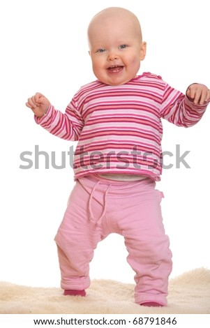 Laughing baby girl - stock photo