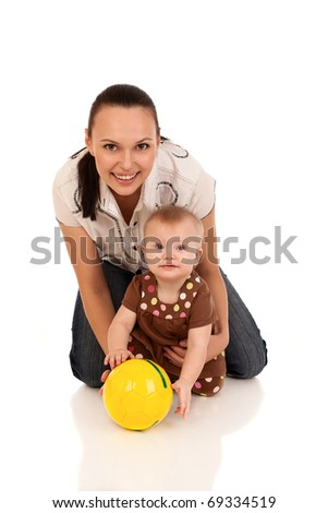 laughing baby playing with mother, isolated over white - stock photo