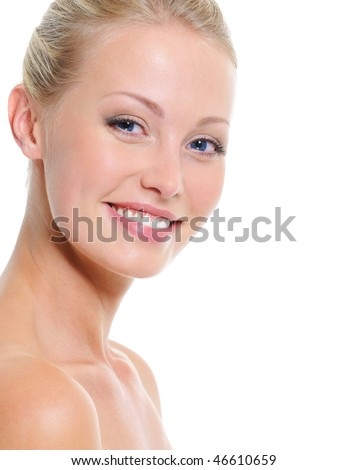 laughing beautiful pretty face of young woman with toothy smile - stock photo
