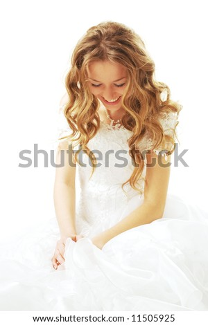 laughing beauty bride isolated on white background - stock photo