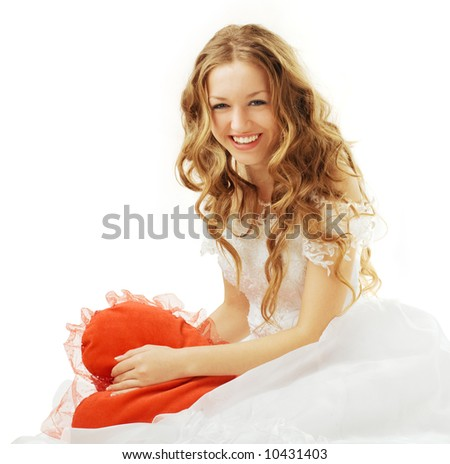 laughing beauty bride with red heart isolated - stock photo