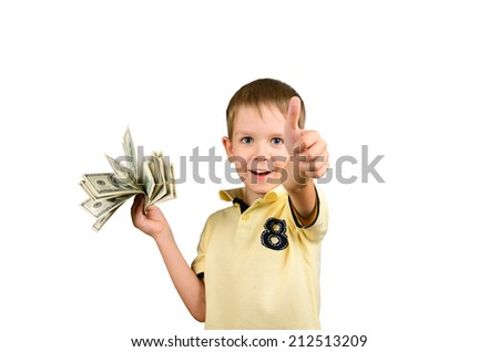 laughing boy holding a a stack of 100 US dollars bills and showing thumb up. isolated on white background. horizontal - stock photo