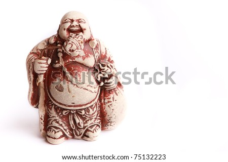 LAUGHING BUDDHA STATUE ON WHITE BACKGROUND - stock photo