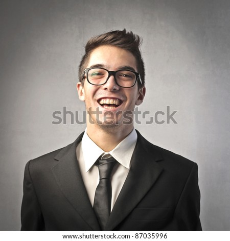 Laughing businessman - stock photo